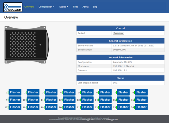 Web Server showing device information of the Flasher Hub with Flasher Compacts