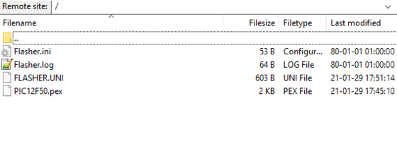 Screenshot showing emFTP root folder for visualizing Remote File Update with Flasher PRO, Flasher PRO XL, Flasher ARM