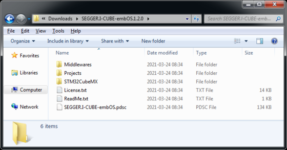 Folder structure of the I-CUBE-EMBOS MadeForSTM32