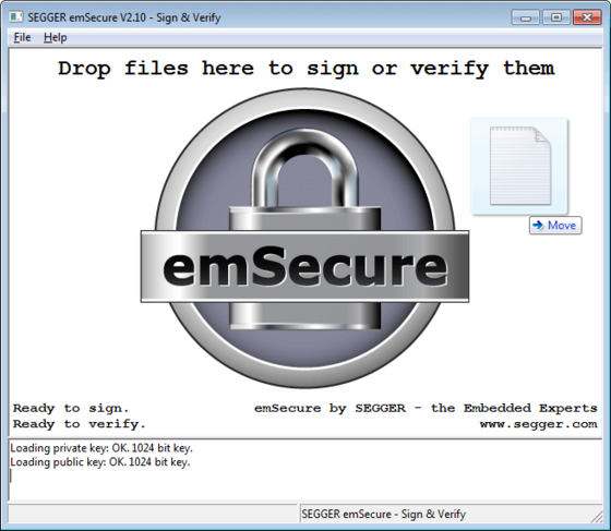SEGGER Free Utilities - emSecure Sign & Verify drag screenshot