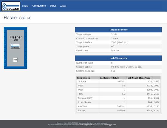 Screenshot showing Flasher status of Flasher ARM via web server