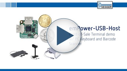 SEGGER emPower-USB-Host: Point-of-Sale Terminal demo w/ PC Keyboard and Barcode Scanner