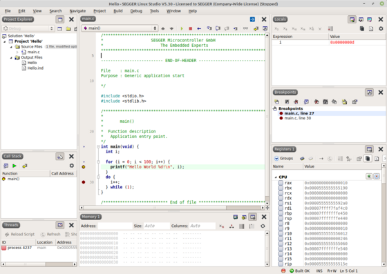 Linux Studio Debug View