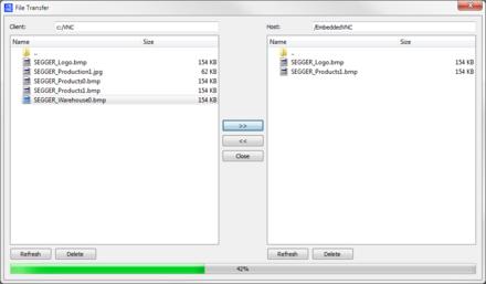 emVNC file transfer
