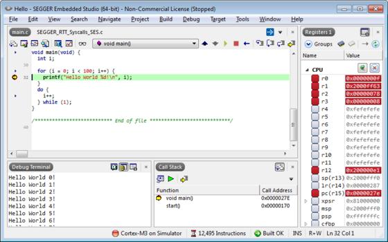 embedded studio debugging