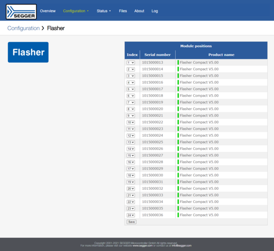 Web server showing configuration options of Flasher Compacts with Flasher Hub