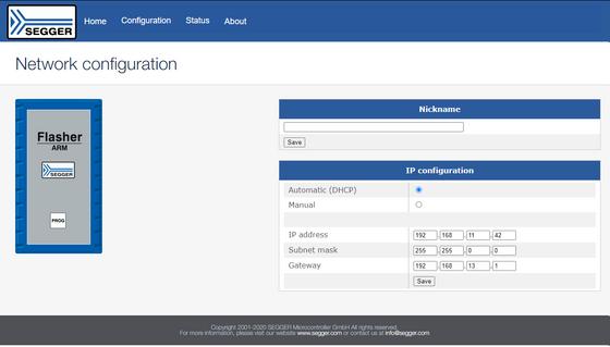 Screenshot showing network configuration of Flasher PRO via web server