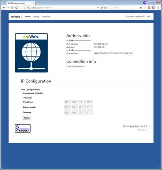 Embedded Web Server SSE - Configuration