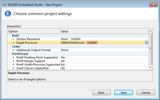 embedded studio new project properties