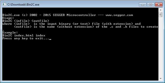 SEGGER Free Utilities - Bin2c No Input Screenshot