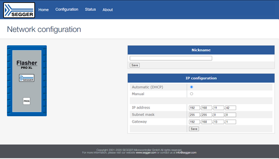 Screenshot showing network configuration of Flasher PRO XL via web server