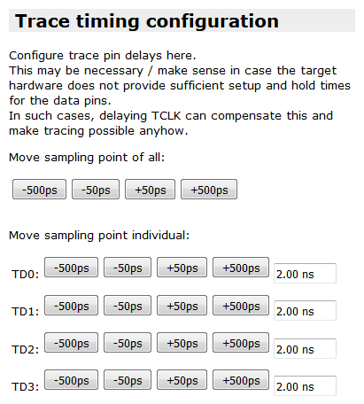 trace timing configuration