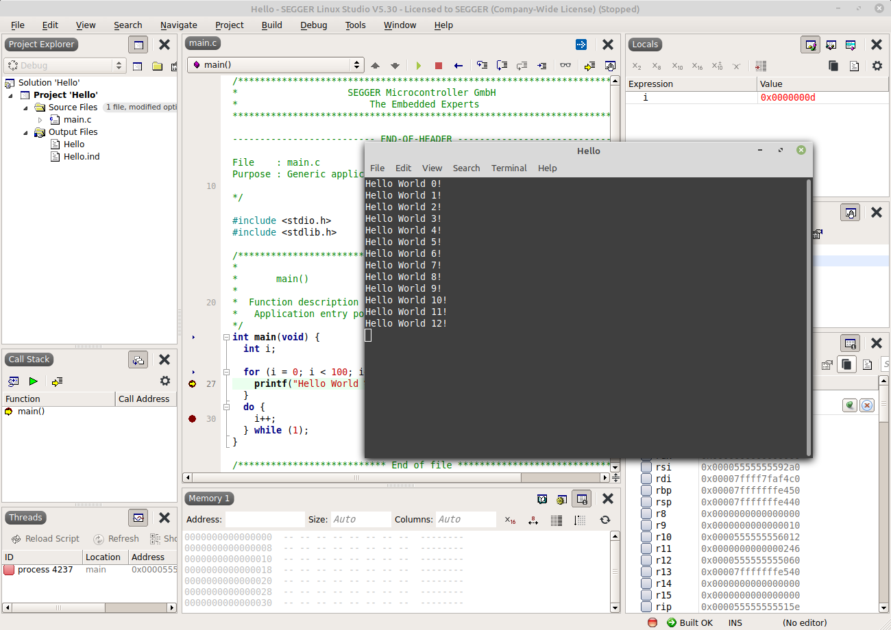 Linux Studio Hello World (2/2)