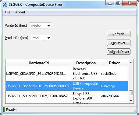 SEGGER Free Utilities - CompositeDeviceFixer Screenshot