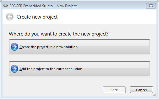 embedded studio new project solution